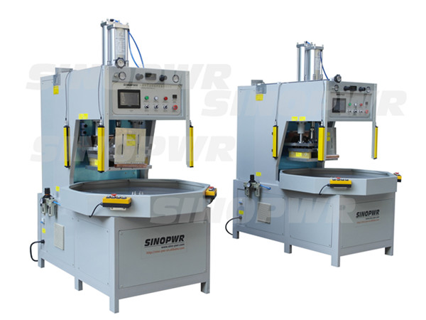 Double positions round table weld and cut machine